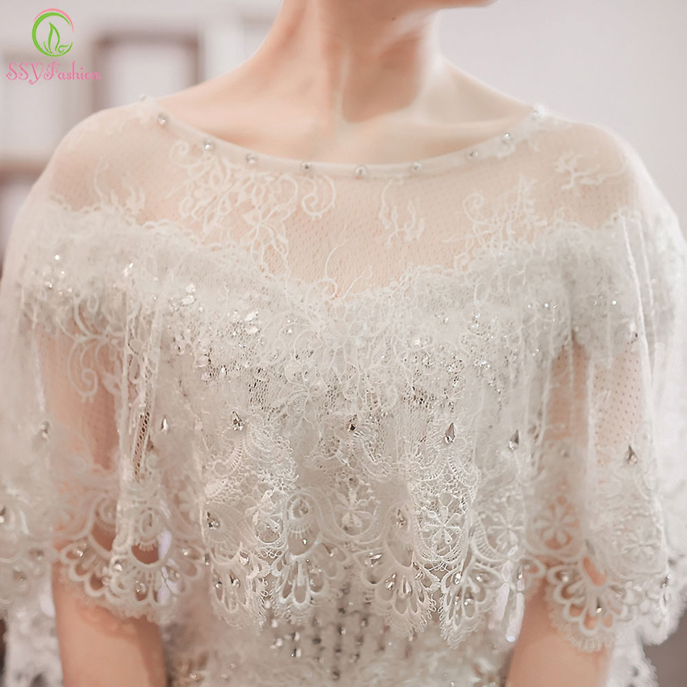 SSYFashion Wedding Shawl White Lace Shawl Luxury Beading Bridal Shawls Wedding Wrap Jacket Accessories