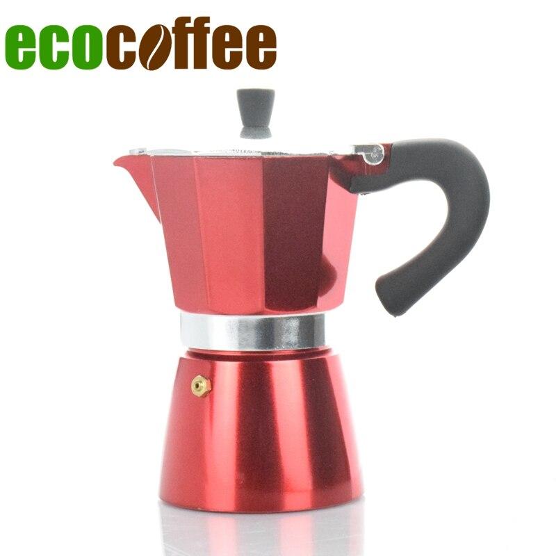 6Cups Counted Classic Espresso Aluminum Moka Pot Mocha Color Coated Household Coffee Maker