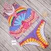 Pacento Tank Top Bikini Colorful Rainbow Print Swimwear Women 2017 Juniors Swimsuit Female Cute Bathing Suit