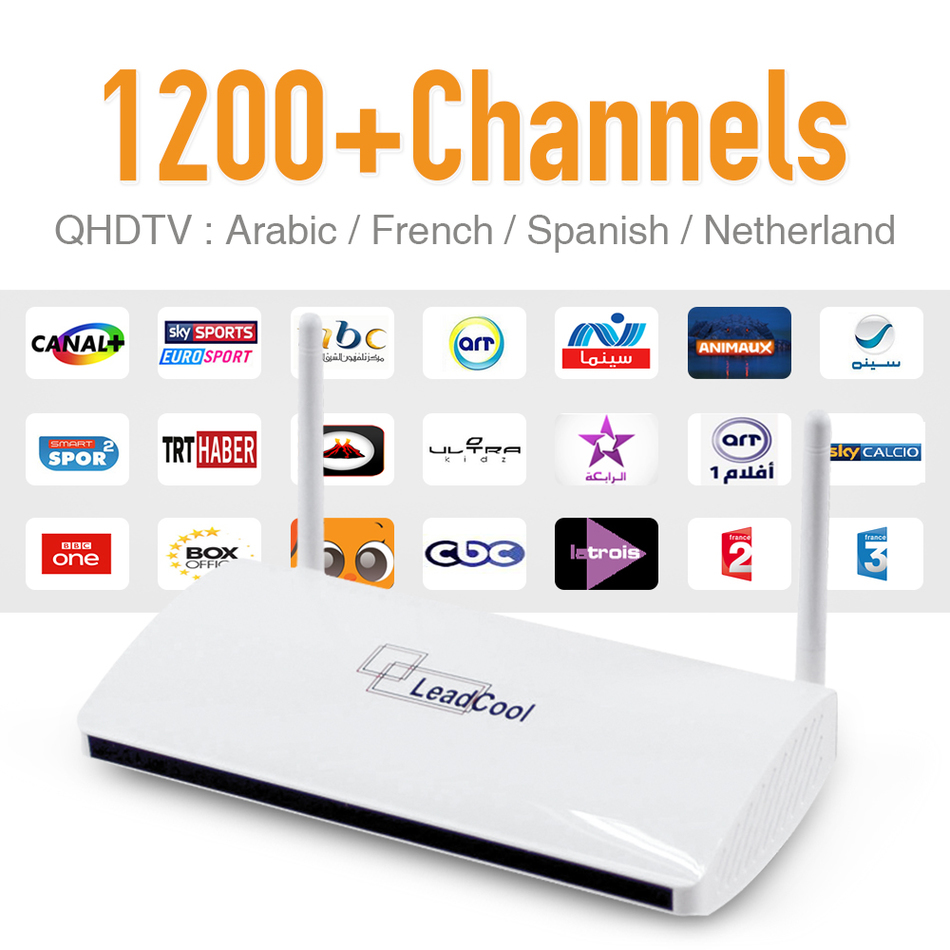IPTV Android Box Built in Wifi 1G 8G Include 1200 Italy Portugal French Europe Arabic Sky Sport IPTV Channels HD Media Player iptv streaming box leadcool android wifi 1g 8g include 1700 italy portugal french receiver europe arabic channels package