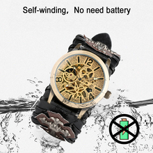 цена на Cool Punk Bracelet Mechanical Watch Mens Automatic Wristwatch Skeleton Tevise Cross Style Genuine Leather Strap Men Xmas Gift