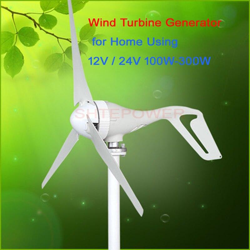 Livraison gratuite 100 W 200 W 300 W générateur de moulin à vent 12 V 24 V options 3 phases ac tension blanc 3 lames