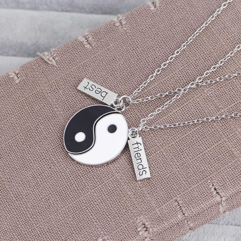 Taiji BFF Kalung untuk 2 Hitam dan Putih Kalung Tunas Terbaik Yingyang Khusus Bagua Perhiasan Hadiah Teman Selamanya
