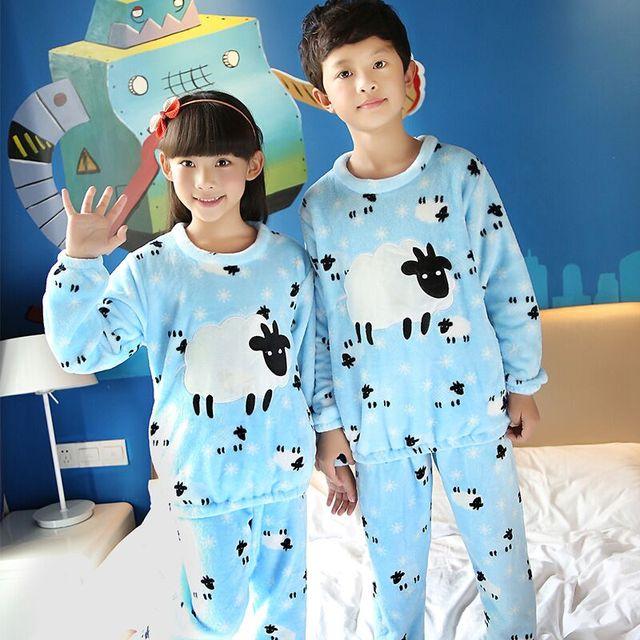 bbe8342f67 Kids Flannel pajamas set Children Winter Warm Coral Fleece Nighties Cartoon  Sleepwear Girls long sleeved Lounge Homewear GD0123
