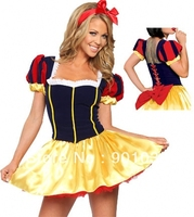 FREE SHIPPING S 2XL Snow White Deluxe Princess Fancy Dress Costume hollow costume