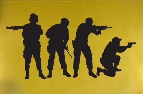 Vinyl Muurtattoo Sticker Militaire Swat Team Leger Mannen