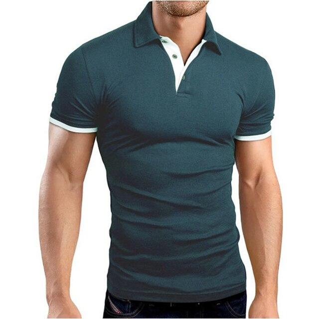 Polo Homme 2017 Мужская Polo Рубашки С Коротким Рукавом Твердый Поворот Вниз Воротник Рубашки Тонкий Мужская Одежда Camisa Camisas Капюшоном плюс Размер
