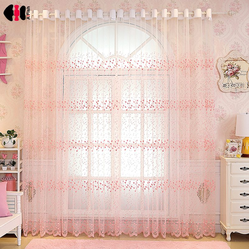 Flowers Embroidery Lace Blinds For Bedroom Sheer Kitchen