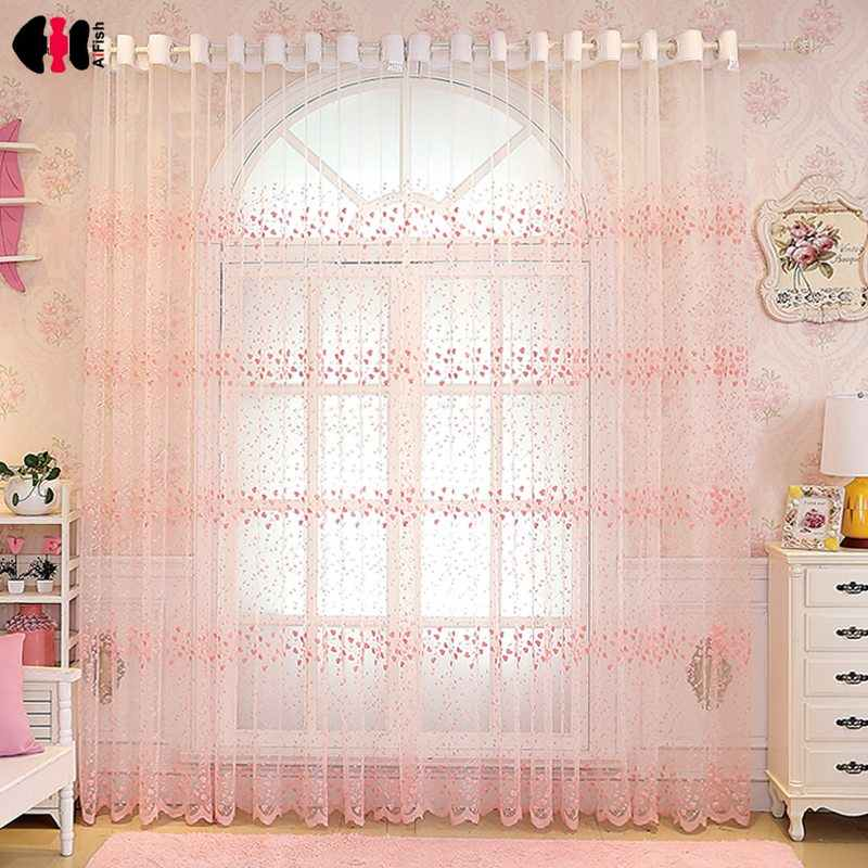 Flowers Embroidery Lace Blinds For Bedroom Sheer Kitchen Window Treatment Screen Pink Beige Blue Tulle WP208D