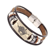 12 Constellations Men Bracelet Cuff Leather Alloy Zodiac Signs Man Casual Punk Bracelets M8694