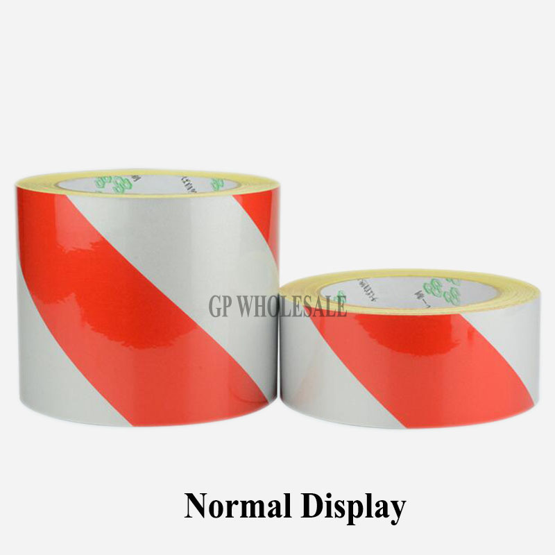 100Rolls 50mmx45M Red & Silver Stripe Reflective Film Self-adhesive Tape Reflective Tape Sticker Warning Tape