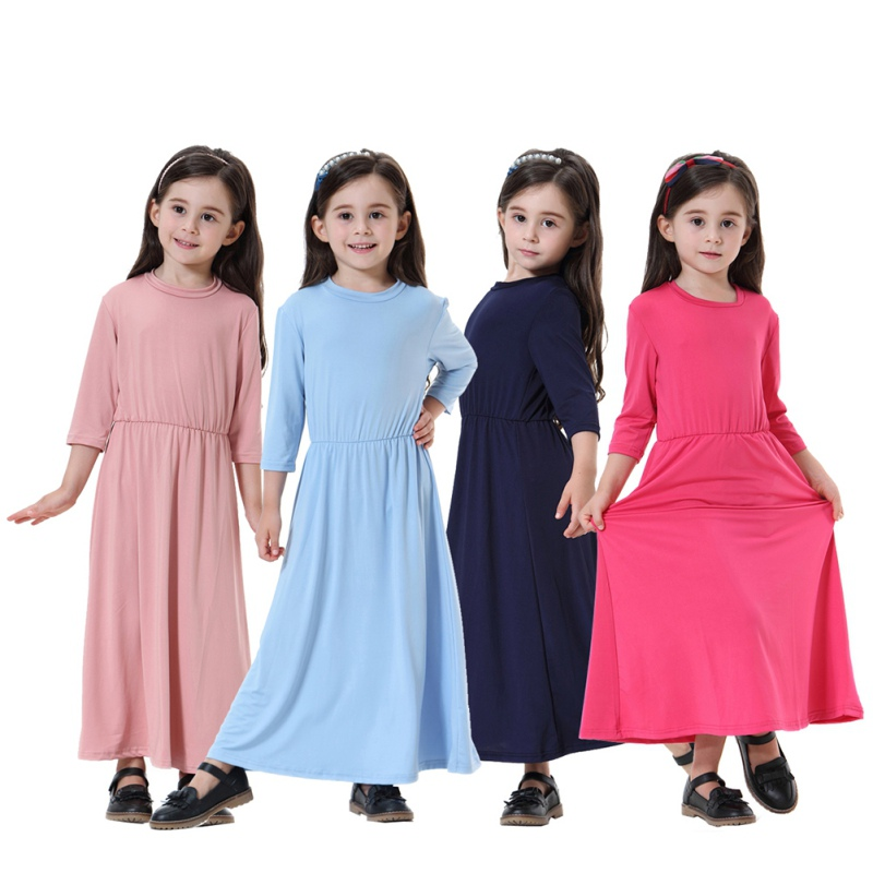 Cute Muslim Dubai Saudi Arabia Kids Clothing Fashion 90-160cm Child Abaya Muslim Girl Dress and Abaya Islamic Children Dresses handbag