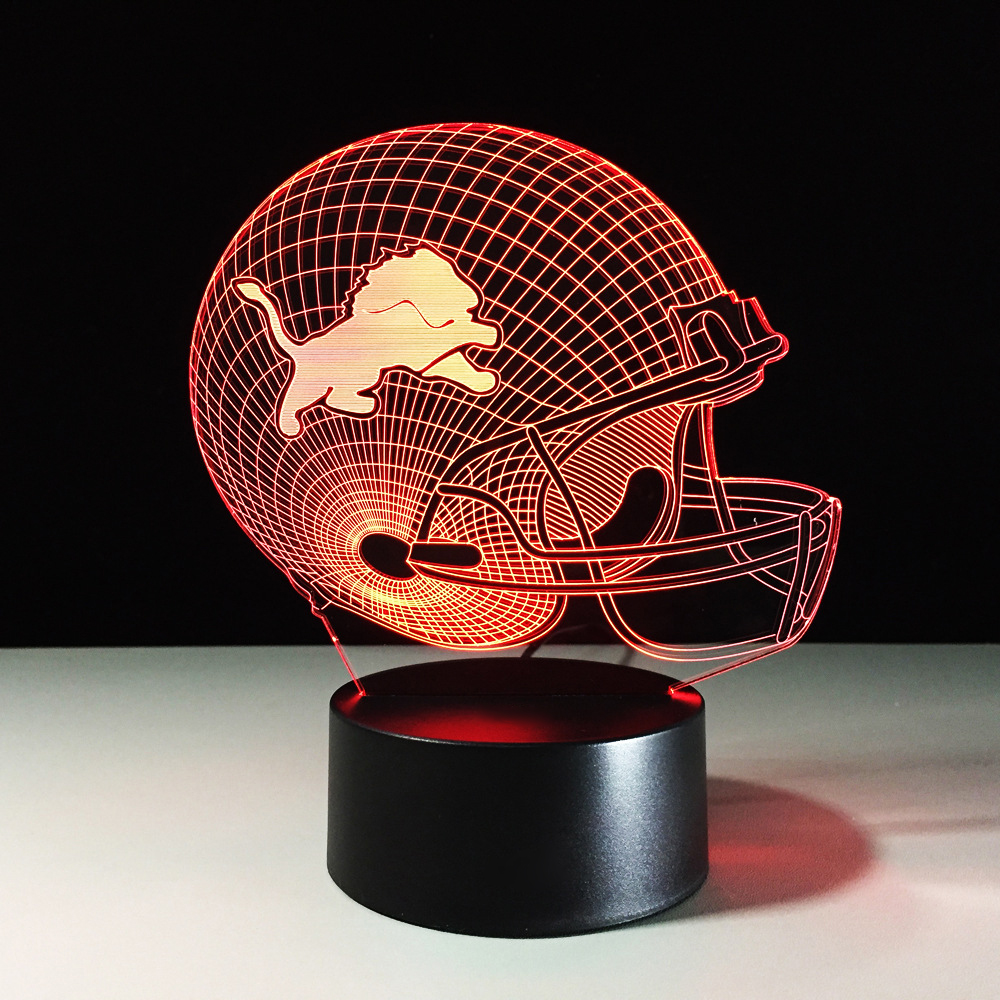 USB American Football Helmet Table Desk Lamp 3D LED Team Rugby Cap Night Light 7 Color Changing Lions Sleep Lighting Decor Gifts
