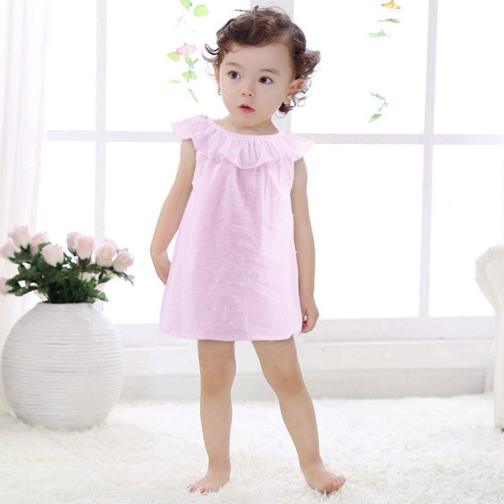 Baby Girl Sleeveless Solid Dress Lotus Leaf Collar A Line -4823