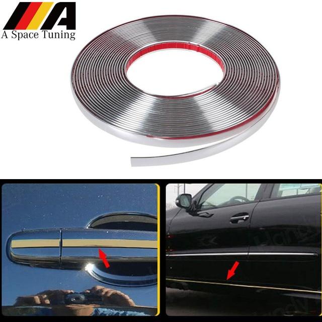 5 メートルの車のクロームスタイリング装飾モールディングトリムストリップテープ自動diyボディバンパー保護ステッカー 6 ミリメートル 8 ミリメートル 10 ミリメートル 12 ミリメートル 15 ミリメートル 20 ミリメートル 30 ミリメートル