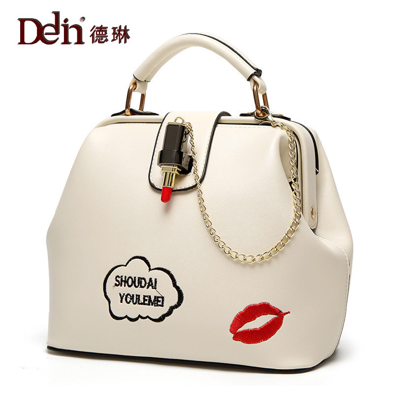 DELIN 2017 new  tide female bag simple single shoulder bag chain embroidery lipstick Doctor Bag Handbag Crossbody Bags new women handbag one shoulder bag 2016 spring female simple leisure crossbody handbag korean style middle aged lady tide bags