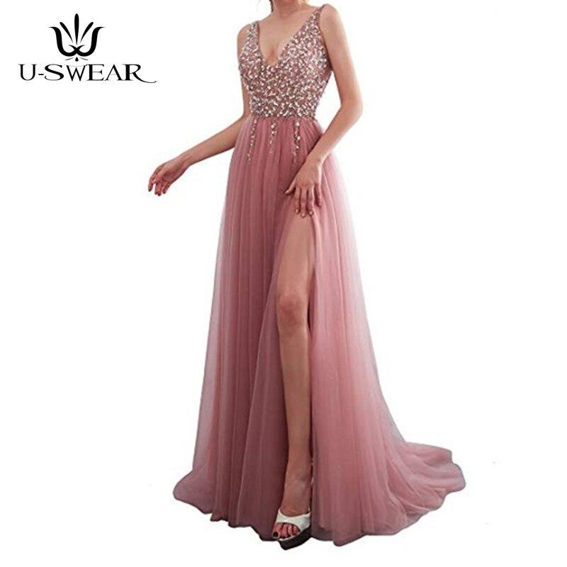 U-SWEAR Evening Dress 2019 A-Line V-Neck Sleeveless Evening Party Prom Formal Gowns Long Slim Dresses Vestidos Robe De Soiree