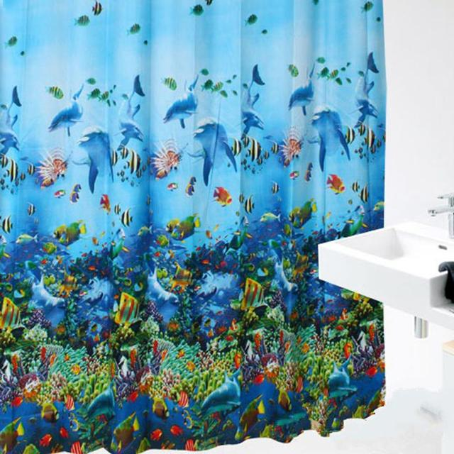 2017 Hot Sales Flower High Quality Ocean Sea Life Fish Curtains Colorful  Bright Waterproof Shower Bathroom