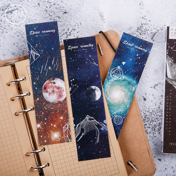 30pcs/pack Roaming Space Bookmark Book Notes Paper Page Gift Stationery School Supplies 30pcs set flowers bookmarks message cards book notes paper page holder for books school supplies accessories stationery