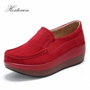 Image 5 - Hosteven chaussures pour femmes plate forme femme chaussure femme chaussures vache daim cuir printemps automne mocassins femmes