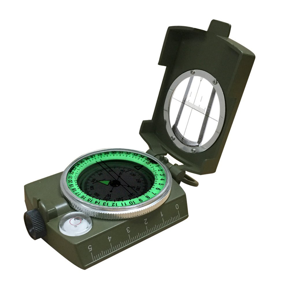 Military Waterproof Survival Compass Night vision Hiking Camping Pocket Noctilucent Compass Outdoor Equipment Army Green