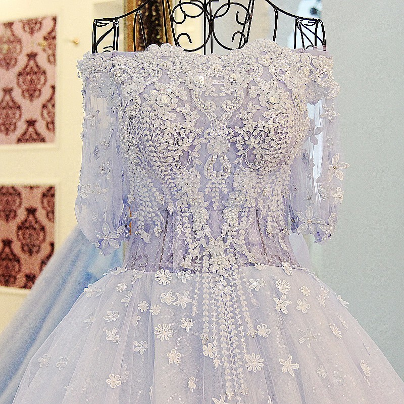 LS33210 Latest Evening Gown Designs Light Blue Half Sleeves Formal Dresses  Court Train Off The Shoulder Beaded Robe De Soiree 406ef19602ad
