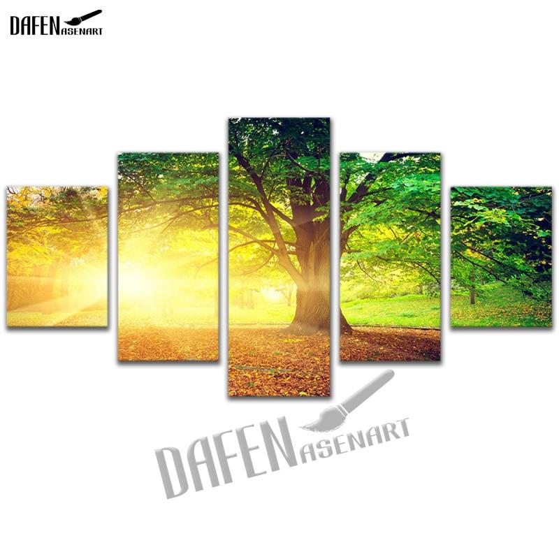 5 Panel Canvas Picture Golden Sunshine Forest Tree Landscape ...