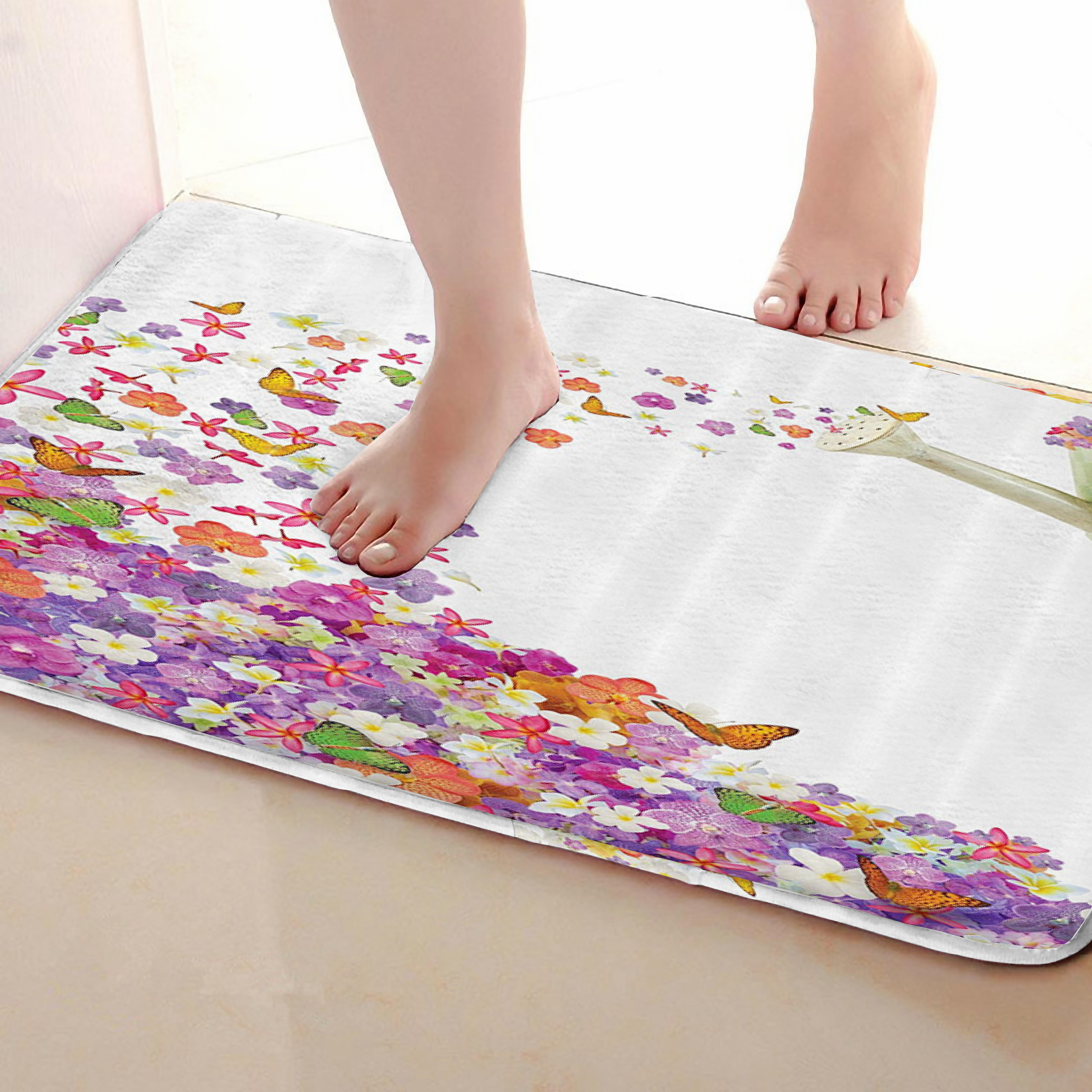 Butterfly Style Bathroom Mat,Funny Anti skid Bath Mat,Shower Curtains Accessories,Matching Your Shower Curtain