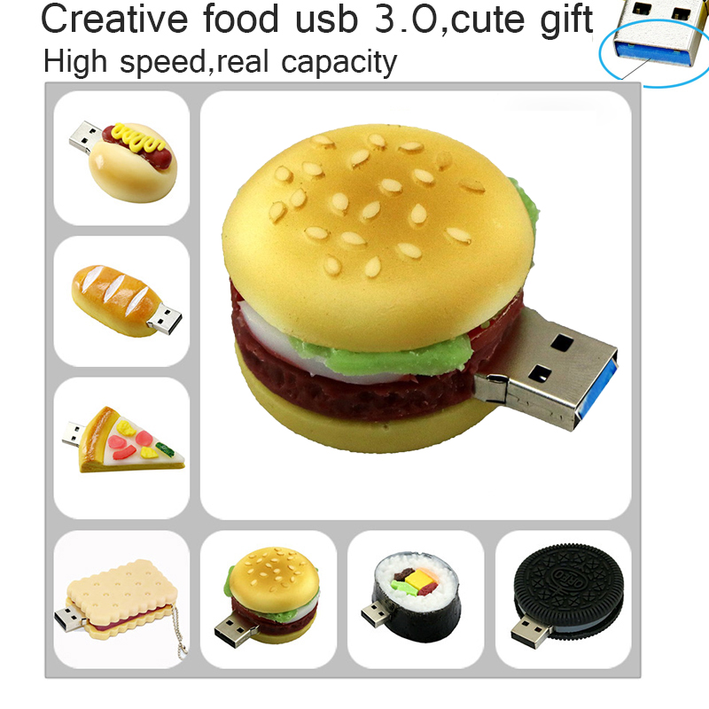 64GB USB 3.0 Pendrive, pamięć USB 8GB 16GB 32GB pełna pojemność słodkie frytki, Pizza, hamburgery USB 3.0 pendrive Pendrive|usb flash drive 8gb|64gb usb 3.064gb usb - AliExpress