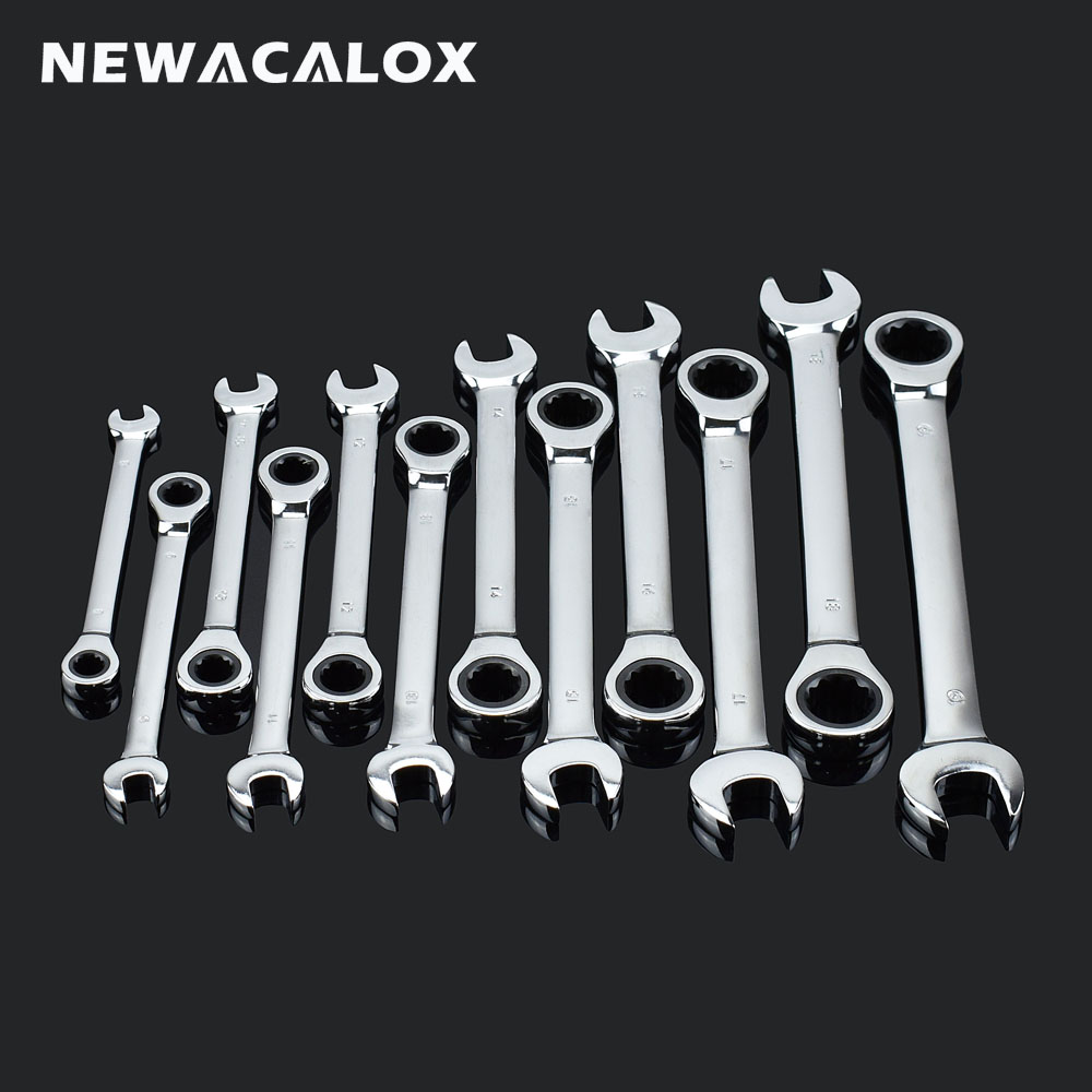 NEWACALOX 12 pcs/lot Fixed Head Ratchet Wrench Combination Spanner Set Professional Tools Universal Wrench for Car Repair Tools 7pieces metric ratchet handle wrench set spanner gear wrench key tools to car bicycle combination open end wrenches 8mm 18mm