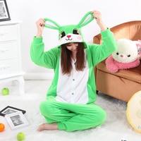 Rabbit Green Pajamas Adult Onesie Animal Rompers Womens Jumpsuit Cartoon Cosplay Costumes Pyjama Sleepsuit