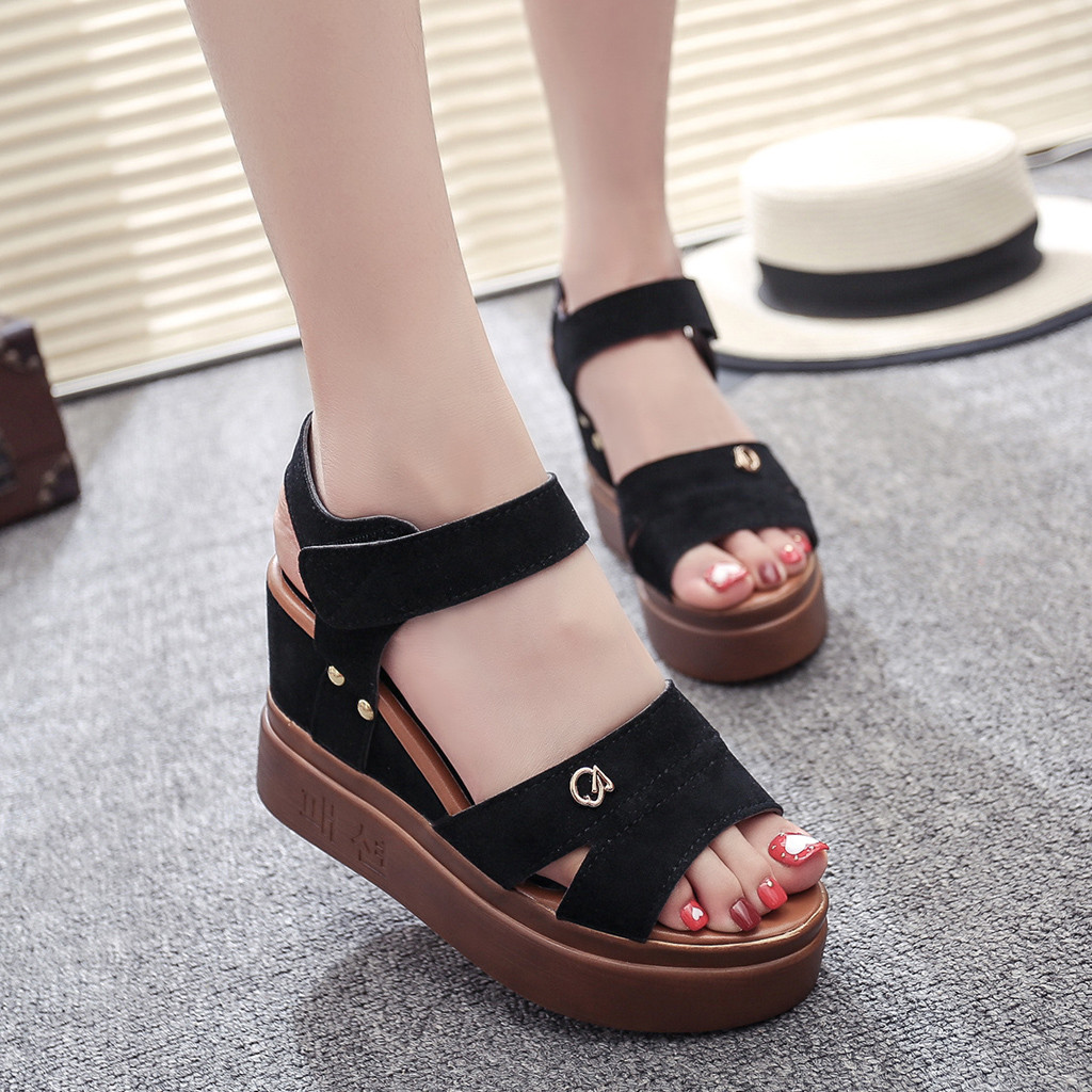 KLV Summer Women Platform Sandals Female Wedges Shoes Fish Mouth Shoes Thick Bottom Roman Sandals Sandalias Mujer 2019 Zapatos