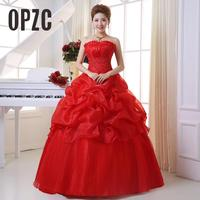 2020 New Arrive Korean Style Red fashion girl crystal princess bridal dress sexy Lace apparel style formal wedding dresses 201