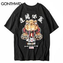 aec7ef854 GONTHWID Caráter Chinês de Poker Impresso Camisas de T Dos Homens 2018 Hip  Hop Streetwear Casual