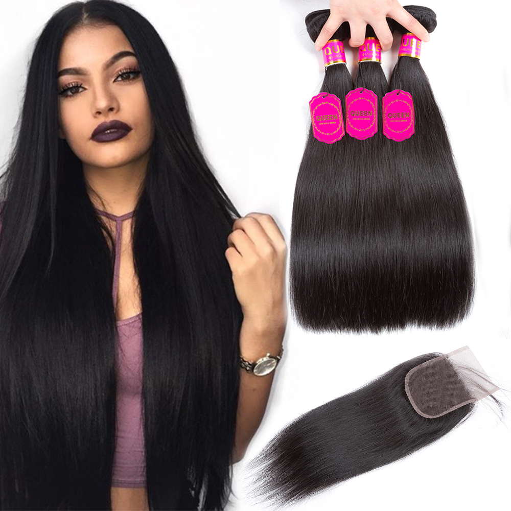 Queen Hair Products Brazilian Straight Hair Weave Bundles With Closure Brazilian Virgin Hair Human Hair Bundles