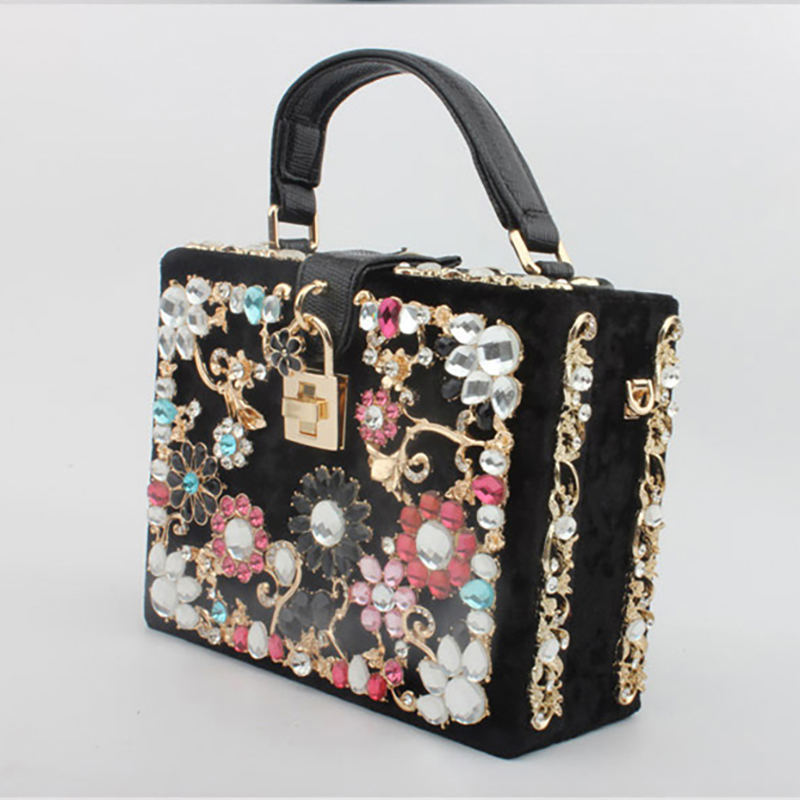 Flower Diamonds Women Box Evening Bag Luxury Handbag Banquet Party Ladies Shoulder Bag Wedding Female Velvet Evening Bags B67-in Top-Handle Bags from Luggage & Bags    1