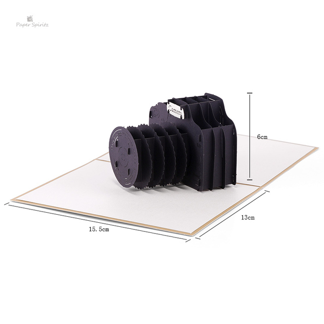 3D Camera Laser Cut Pop Up Paper Postcards Custom Handmade Birthday Greeting Cards Gifts 5031G