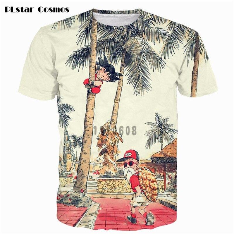 PLstar Cosmos Cute Kid Goku & Cool Master Roshi Print tshirts Anime t shirts Men Women Fashion COCO Tree 3D t shirt Vintage tees