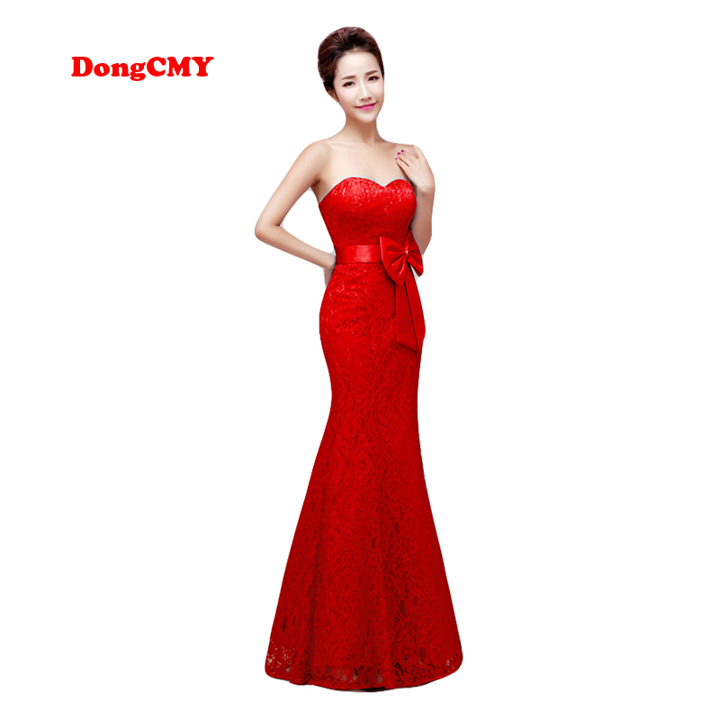 DongCMY Zipper style long New Evening dress 2018 Red color Plus size Robe de soiree Lace Womens Mermaid
