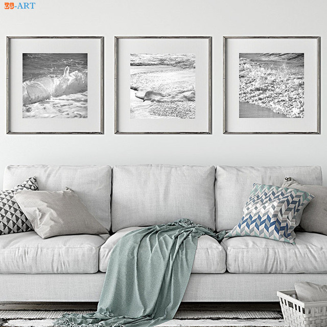 Nautical Decor Ocean Poster Waves Black And White Sea Large Wall Art Canvas Prints Painting Picture