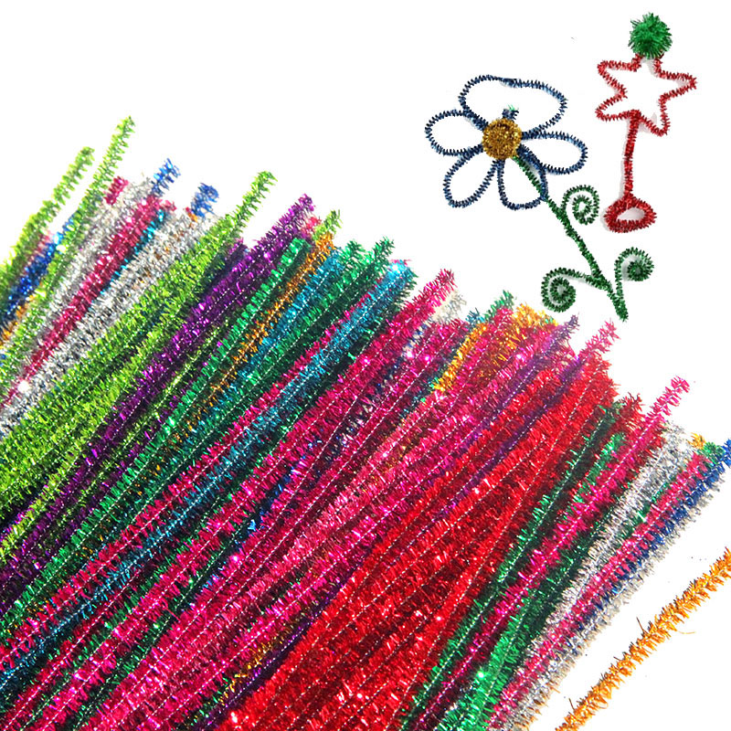 100pcs Montessori Materials Chenille Children Educational Toy Crafts for Kids Colorful Pipe Cleaner DIY Toys Craft