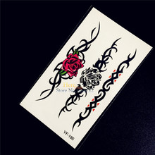 1PC Beauty Rose Flower Bracelet Temporary Tattoo Jewelry Sticker Girl Black Chains Design Tattoo HYF-195 Women Sexy Tatoo Selfie