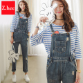 Retro Hole Washed Denim Overalls Jeans Loose Straight Jeans Rompers Womens Jeans Jumpsuit Female Denim Overalls Jeans For Women