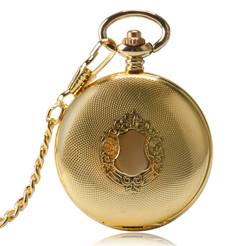 Half Hunter Luxury Exquisite Golden Royal Shield Design Pocket Watch Automatic Mechanical Fob Watches Men Women Pendant Gift mindewin wireless restaurant paging system 10pcs waiter call button m k 4 and 1pcs receiver wrist watch pager m w 1 service bell