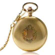 Pół Hunter luksusowe wykwintne złoty królewski tarcza projekt zegarek kieszonkowy automatyczne mechaniczne zegarki kieszonkowe mężczyźni kobiety wisiorek prezent tanie tanio YISUYA Automatyczne self-wiatr STAINLESS STEEL ROUND ANALOG Retro Stacjonarne Szkło Unisex Kieszonkowy zegarki kieszonkowe