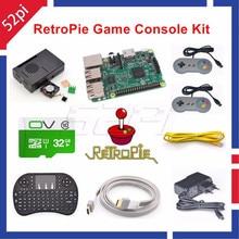 52Pi 2017 Raspberry Pi 3 Modelo B 32 GB Consola de Juegos RetroPie Kit con 2 unids SNES Controladores Gamepads