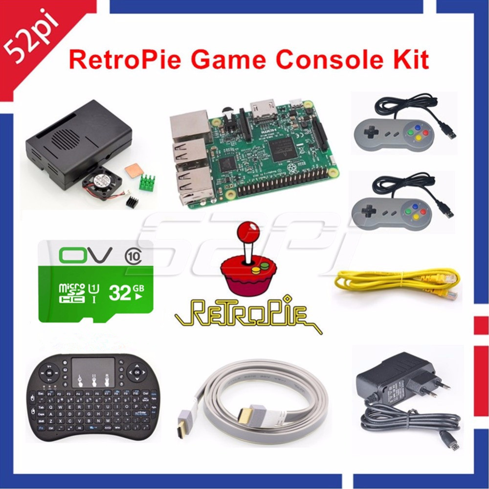 52Pi Raspberry Pi 3 Model B 32GB RetroPie Game Console Kit with 2pcs SNES Gamepads Controllers