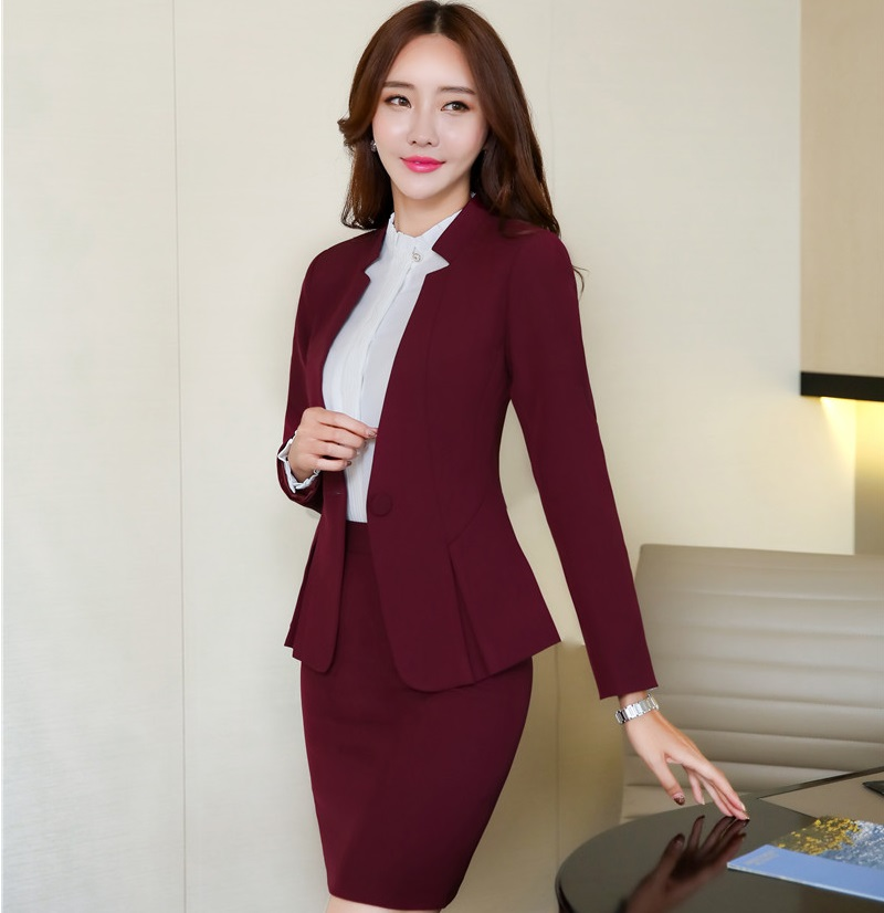 Formal Maroon Red Blazer Women Business Suits With Skirt
