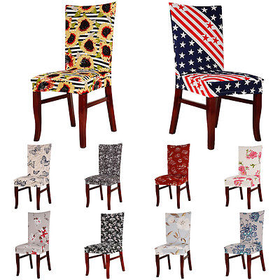 Universal Dining Flower Printing Removable Chairs Cover Restaurant Wedding Party Decor Hotel Banquet Floral Seat Chair Cover