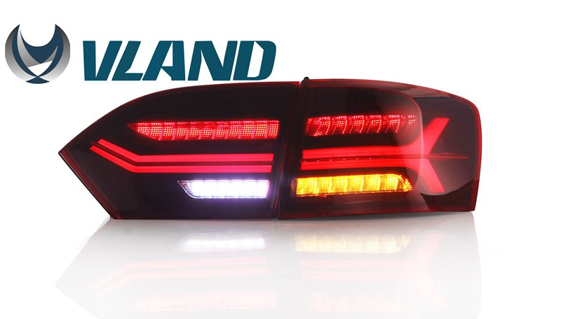 Free Shipping Vland Factory Car Taillight for VW Jetta Sagitar Tail Lights Jetta MK6 LED Rear Lamp 2012-2015 Plug and Play car styling tail lights for toyota highlander 2015 led tail lamp rear trunk lamp cover drl signal brake reverse